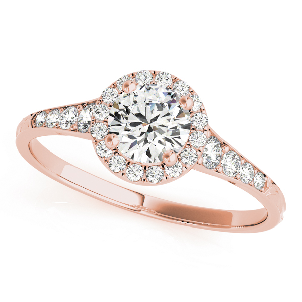 Petite Diamond Halo Bridal Set with Engraved Band in Rose Gold