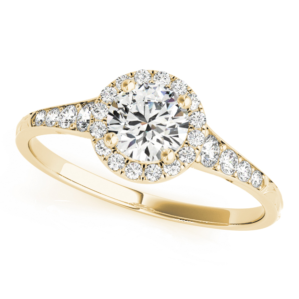 Petite Diamond Halo Engagement Ring with Engraved Band in Yellow Gold