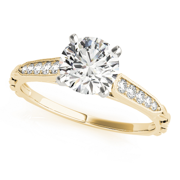 Cathedral Petite Diamond Engagement Ring in Yellow Gold