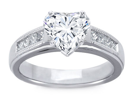 Milligrain Heart Shape Diamond Cathedral Engagement Ring 0.32 tcw.