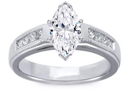 Milligrain Marquise Diamond Cathedral Engagement Ring 0.32 tcw.