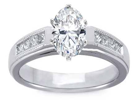Milligrain Oval Diamond Cathedral Engagement Ring 0.32 tcw.