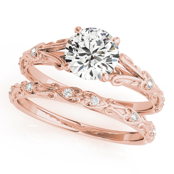 Split Band Cathedral Engraved Petite Diamond Bridal Set in Rose Gold