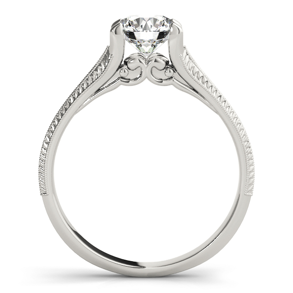 Cathedral Delicate Diamond Engagement Ring with Engraving