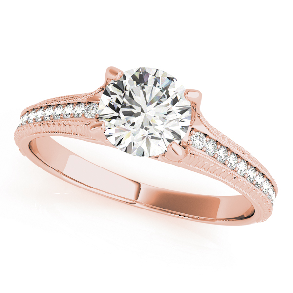 Cathedral Delicate Diamond Bridal Set with Engraving in Rose Gold