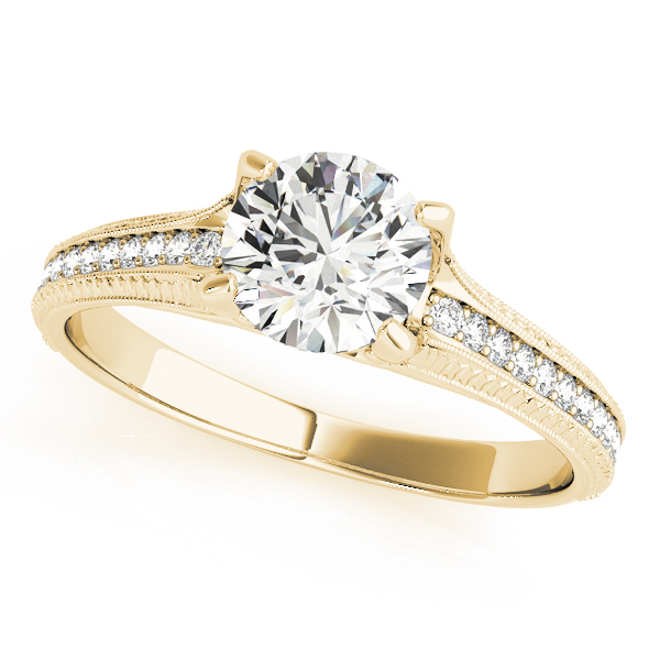 Cathedral Delicate Diamond Engagement Ring with Engraving in Yellow Gold