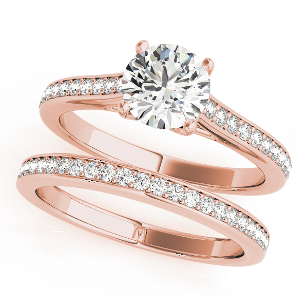 Classic Cathedral Trellis Diamond Bridal Set in Rose Gold