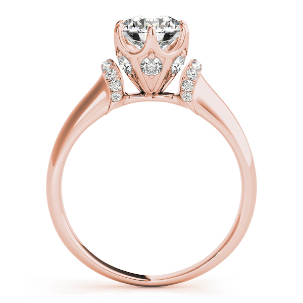 Contour Crown Engagement Ring with Diamond Shoulder in Rose Gold