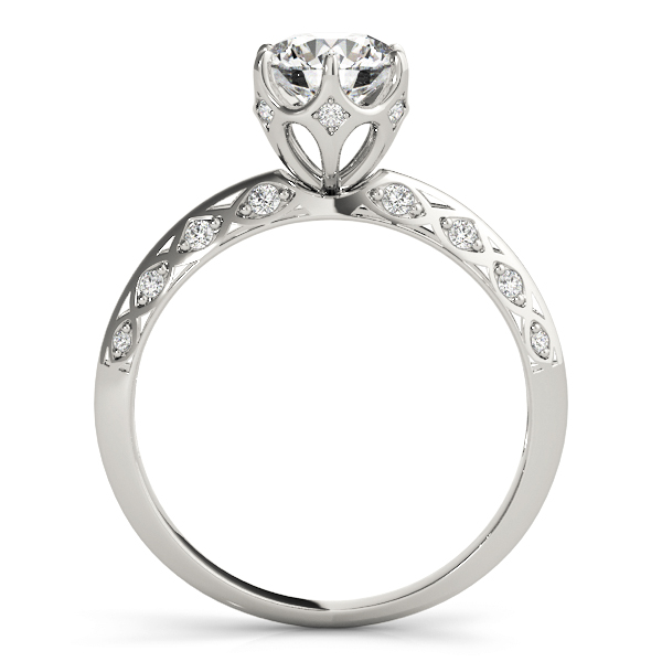 Crown Knife Edge Diamond Engagement Ring with Filigree