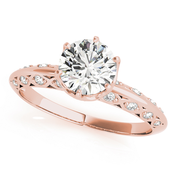 Crown Knife Edge Diamond Bridal Set with Filigree in Rose Gold