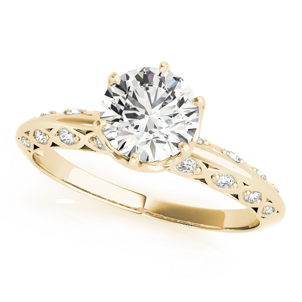Crown Knife Edge Diamond Engagement Ring with Filigree in Yellow Gold
