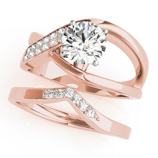 Wide Intertwined & Split Band Diamond Bridal Set in Rose Gold