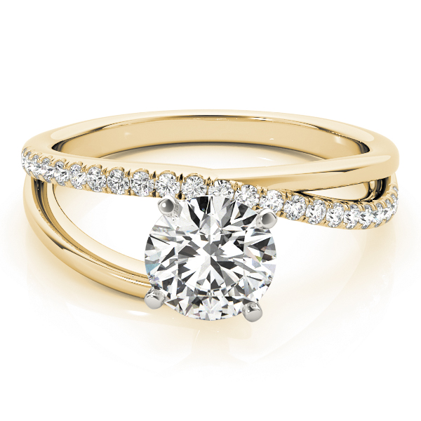 Petite Intertwined Diamond Engagement Ring in Yellow Gold