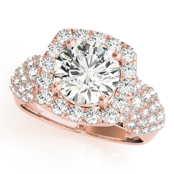 Large Square Halo Diamond Engagement Ring with Filigree in Rose Gold