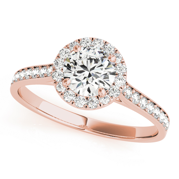 Engagement Ring Classic Halo Diamond Cathedral Engagement Ring in