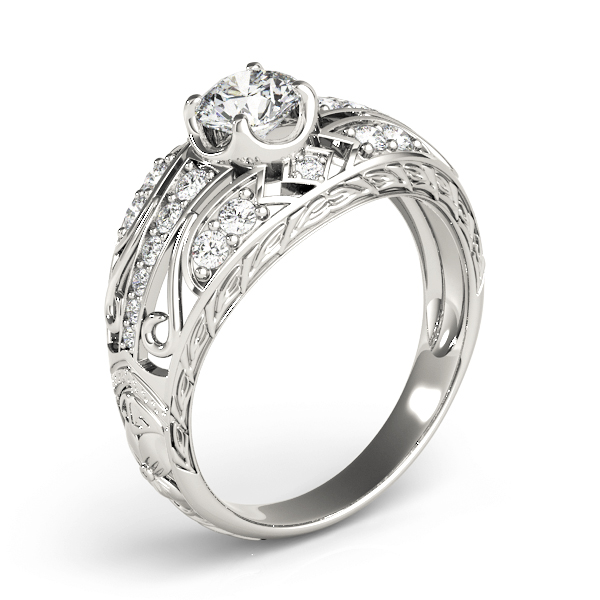Engraved Dome Diamond Engagement Ring with Filigree