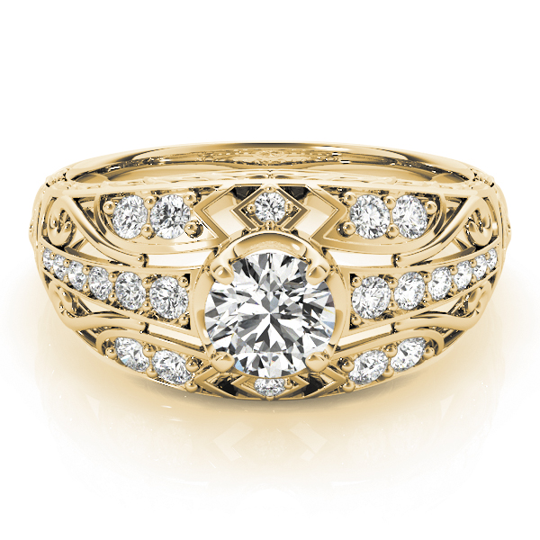 Engraved Dome Diamond Engagement Ring with Filigree in Yellow Gold