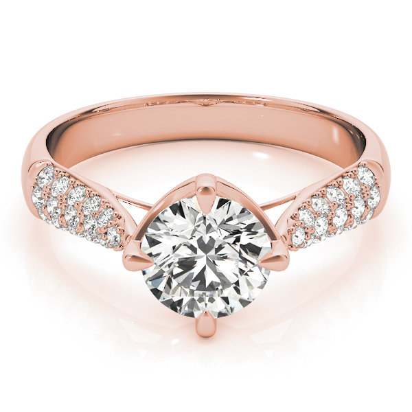 Cathedral Tapered Etoil Diamond Engagement Ring in Rose Gold