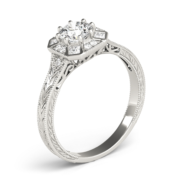 Hexagon Halo Diamond Engraved Engagement Ring