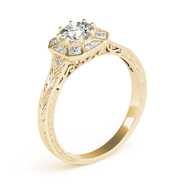 Hexagon Halo Diamond Engraved Engagement Ring in Yellow Gold