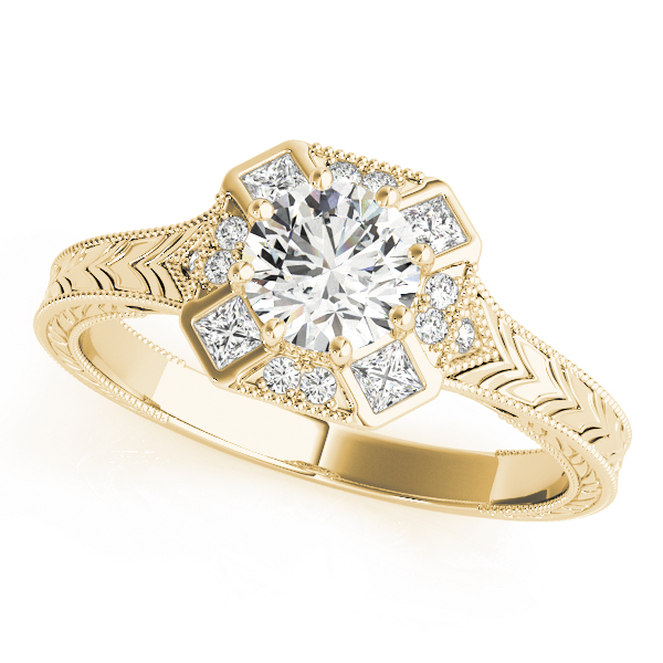 Octagon Halo Diamond Engraved Engagement Ring Yellow Gold