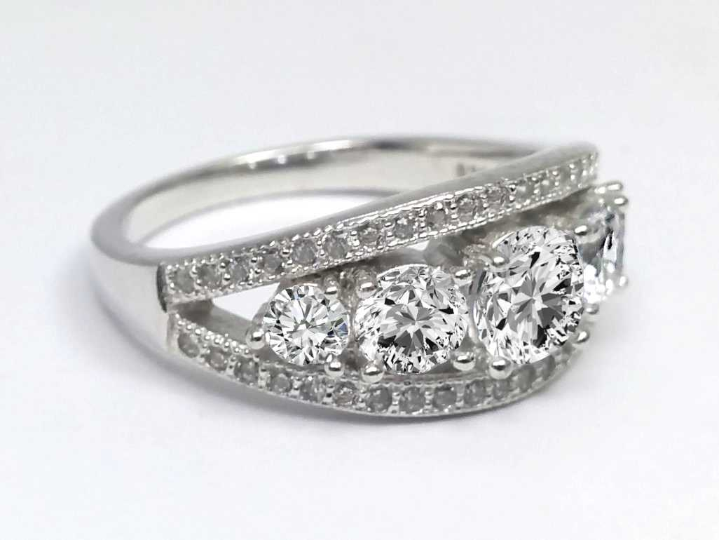 Five Stone Diamond Engagement Ring, Double Band