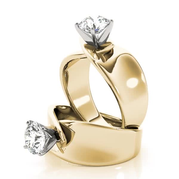 Criss-Cross Solitaire Engagement Ring Yellow Gold