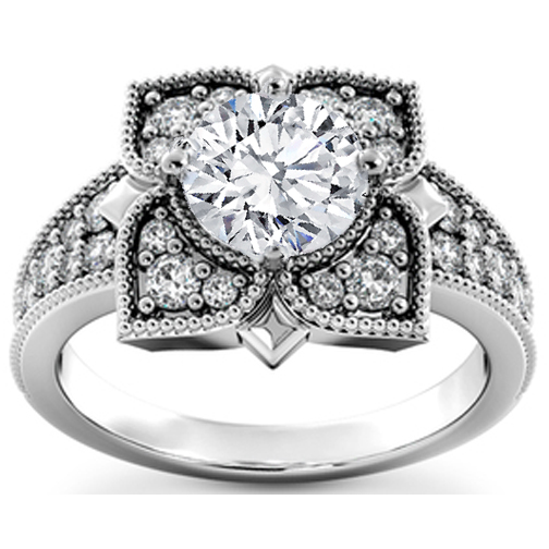 Floral Diamond Vintage Style Engagement Ring