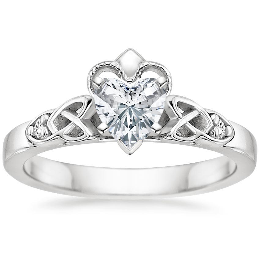 Heart Diamond Celtic Claddagh Engagement Ring