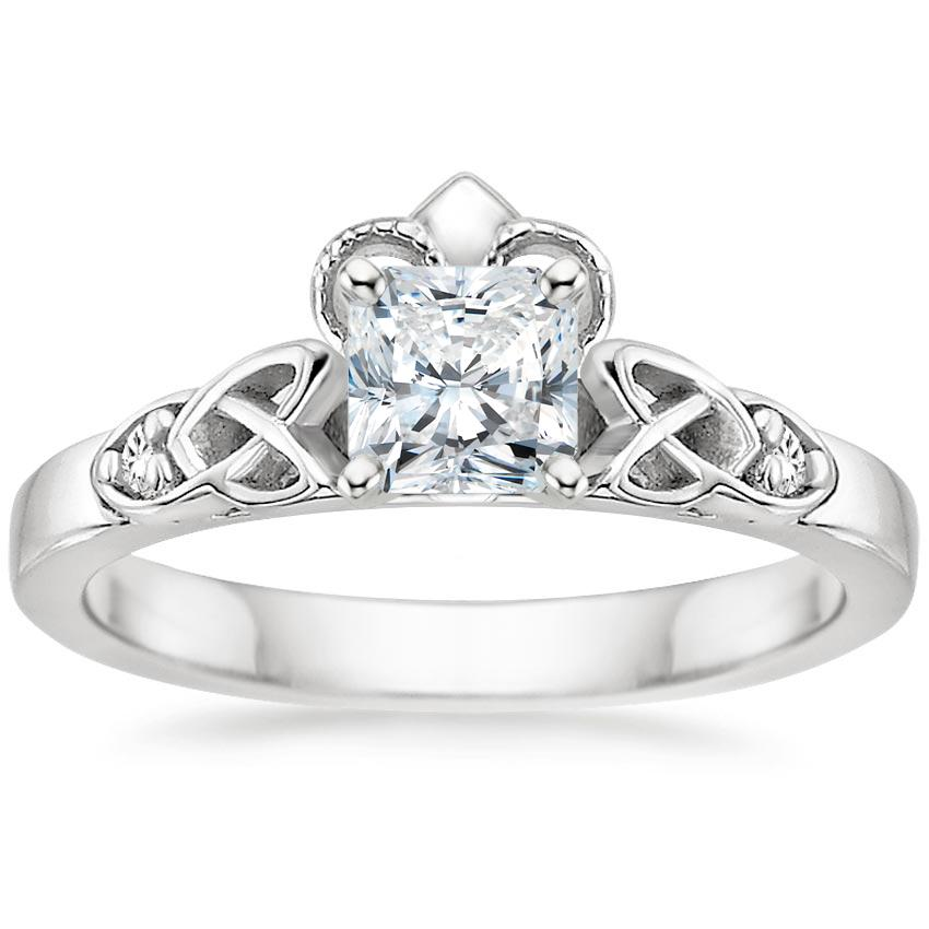 Radiant Diamond Celtic Claddagh Engagement Ring