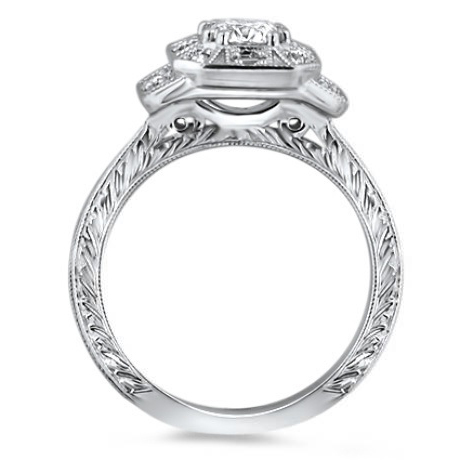 Octagon Vintage Petite Diamond Engraved Band Engagement Ring