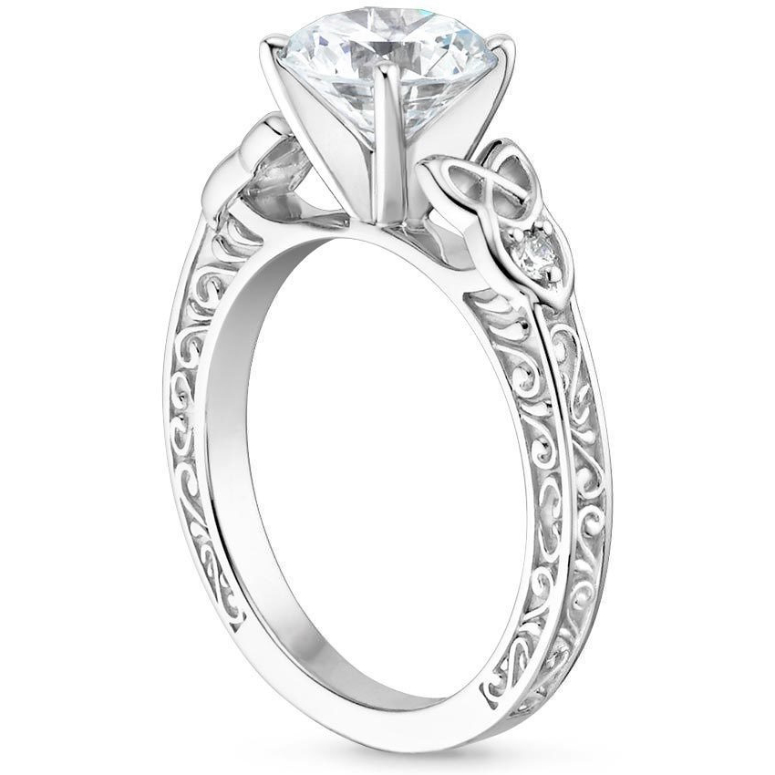 Asscher Celtic Engraved Diamond Engagement Ring