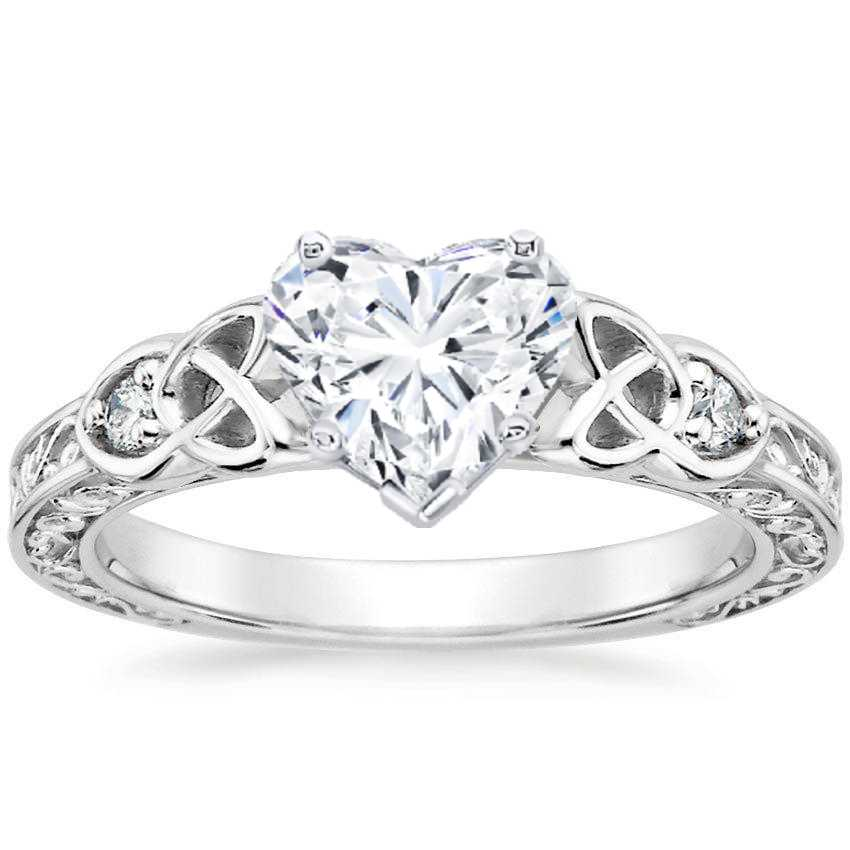 Heart Celtic Engraved Diamond Engagement Ring
