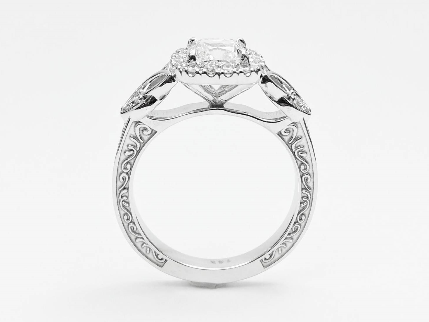 Cathedral Halo Celtic Engraved Diamond Engagement Ring