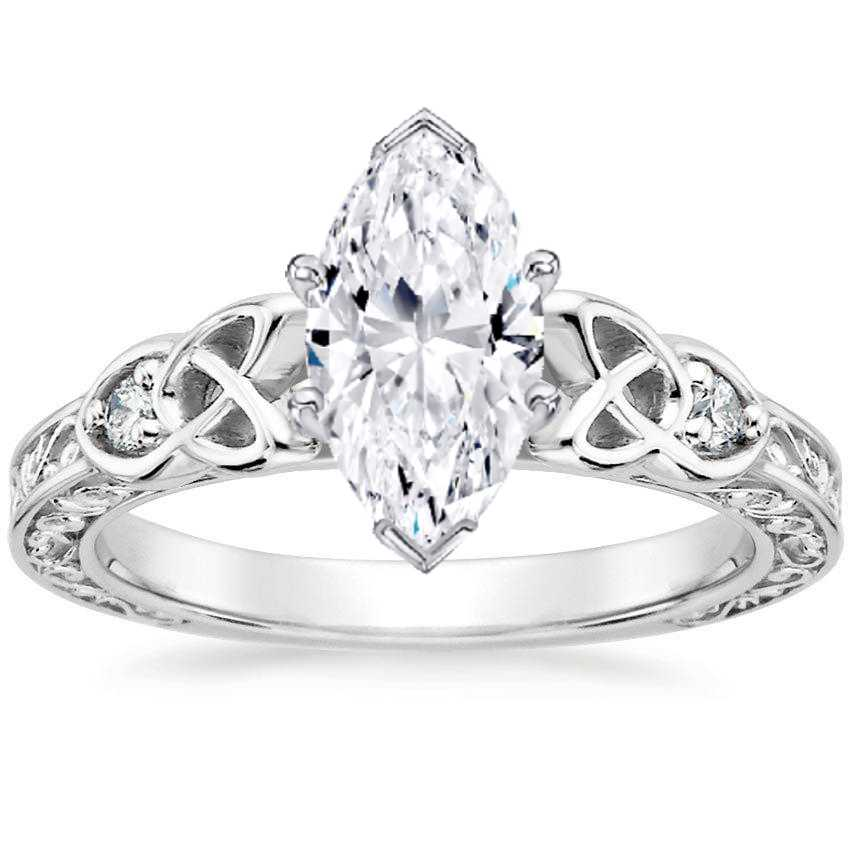 Marquise Celtic Engraved Diamond Engagement Ring