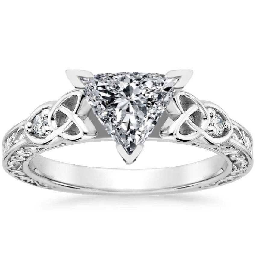 Trillion Celtic Engraved Diamond Engagement Ring