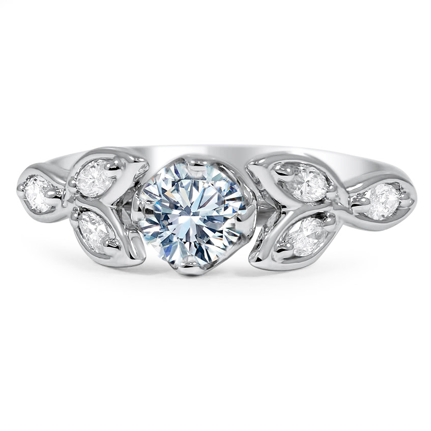 Floral Petal Diamond Engagement Ring
