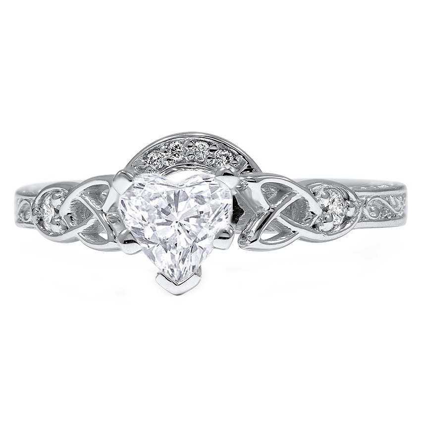 Heart Shaped Diamond Claddagh & Celtic Diamond Engagement Ring