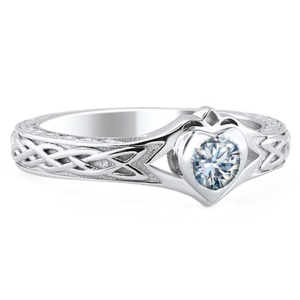 Diamond Celtic & Claddagh Engraved Engagement Ring