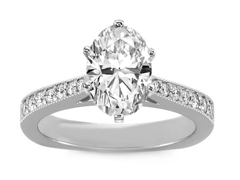 Milligrain Tapered Pave Cathedral Oval Diamond Engagement Ring 0.24 tcw. In 14K White Gold