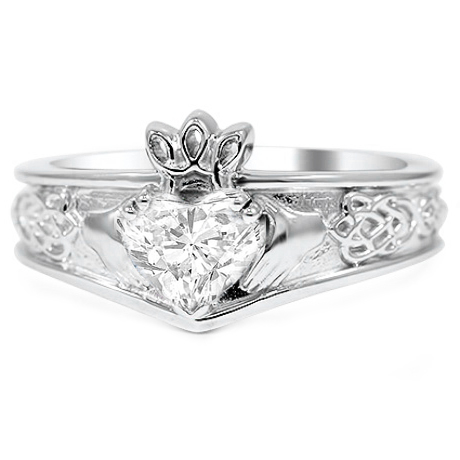 Heart Shaped Celtic & Claddagh Engagement Ring