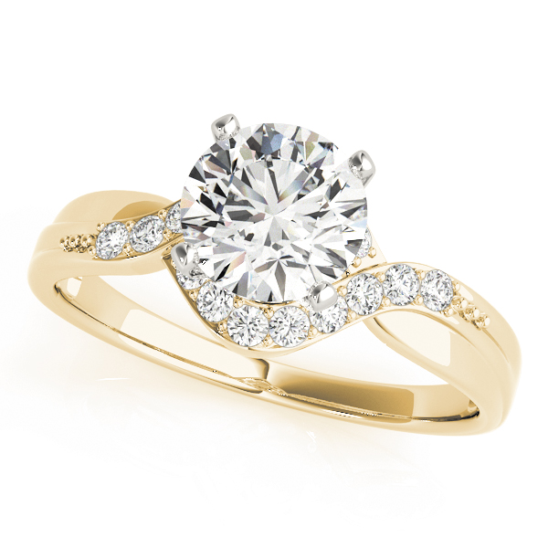 Swirl Halo Diamond Engagement Ring & Wedding Band in Yellow Gold