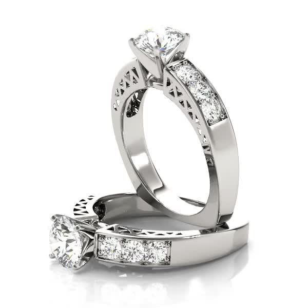 Classic Diamond Pave Set Engagement Ring in Platinum
