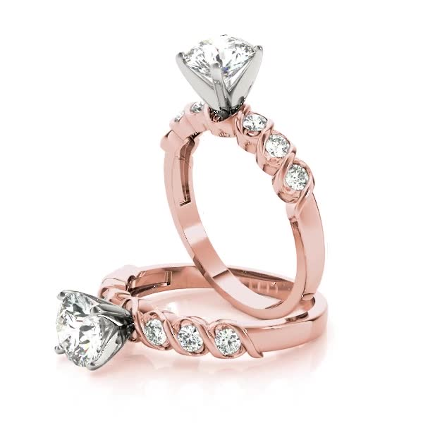 Petite Helix Diamond Bridal Set in Rose Gold