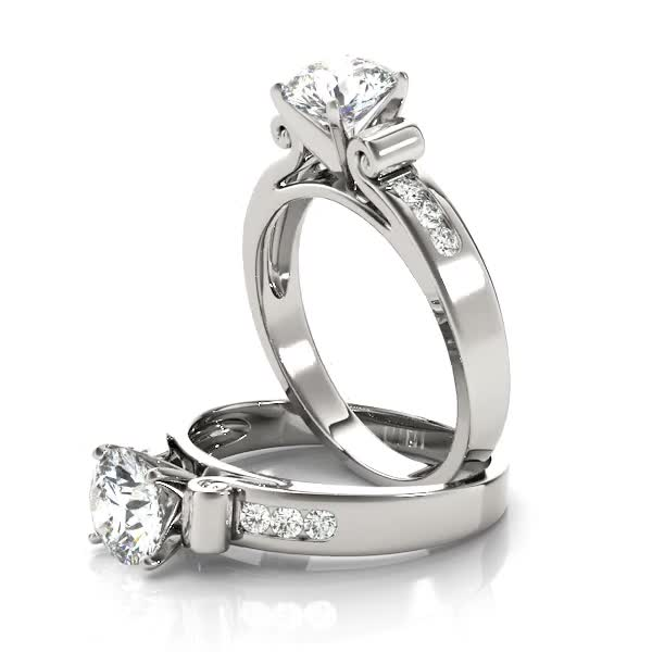 Scroll Design Cathedral Diamond Engagement Ring