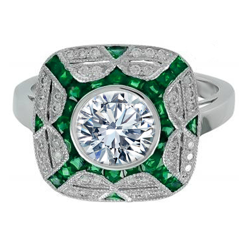 Large Bezel Set Round Diamond Art Deco Double Halo Engagement Ring with Green Tourmaline Accents