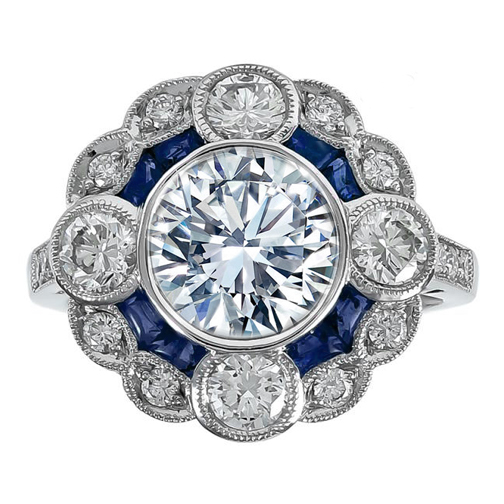 Large Bezel Set Art Deco Round Diamond Engagement Ring with Sapphires