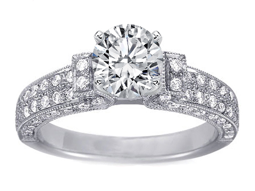 Diamond Silhouette Three sided Pave Engagement Ring, 0.83 tcw