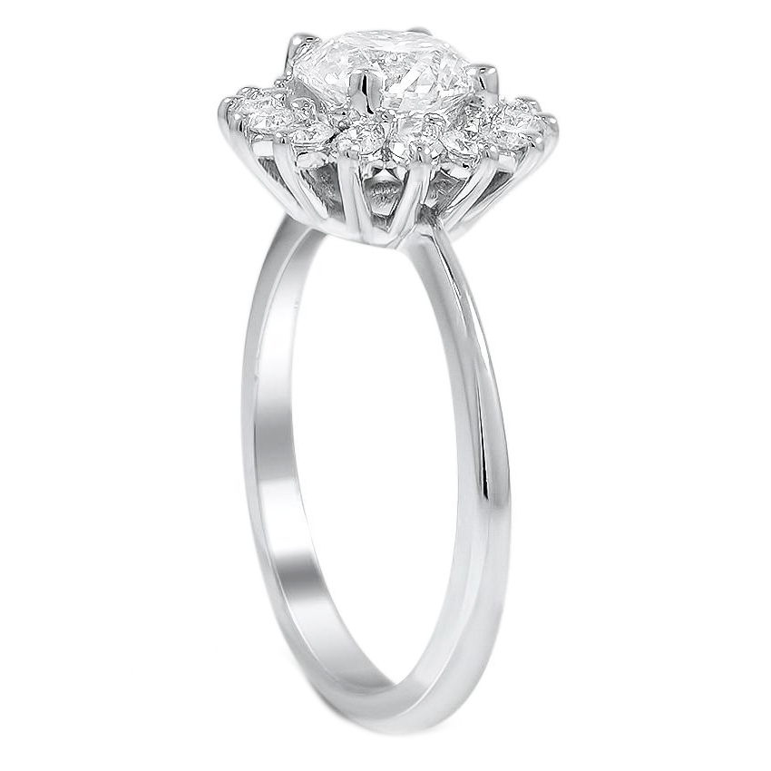 High Set Classic Floral Diamond Halo Engagement Ring
