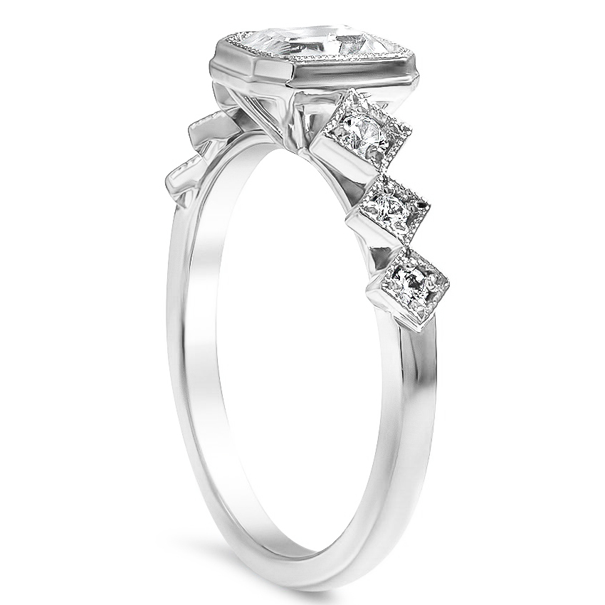 Emerald Cut Bezel Diamond Engagement Ring